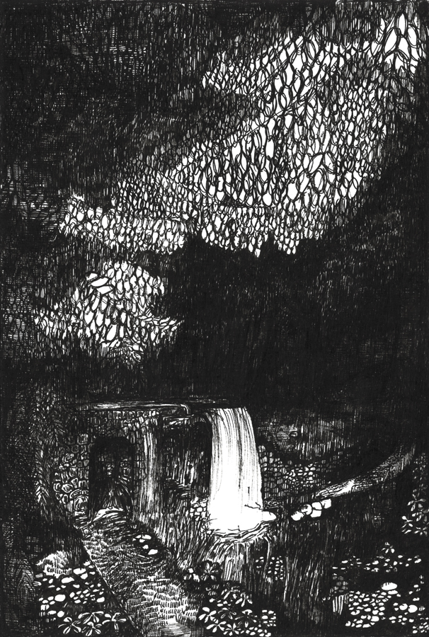 Rozemarijn Westerink - Cascade, pen and ink on paper, 24 x 16 cm, 2019