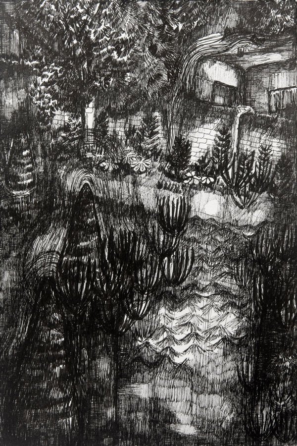 Rozemarijn Westerink - Garden, pen and ink on paper, 24 x 16 cm, 2015