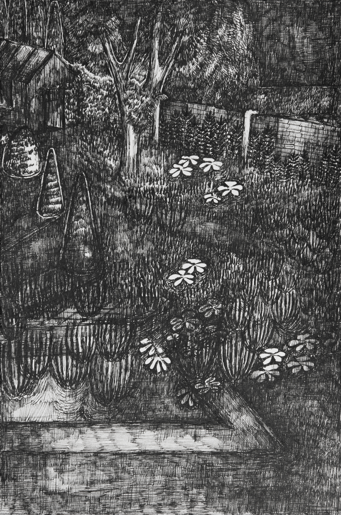 Rozemarijn Westerink - Garden, pen and ink on paper, 24 x 16 cm, 2016