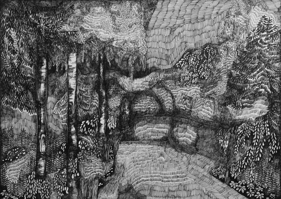 Rozemarijn Westerink - Garden, pen and ink on paper, 29.5 x 42 cm, 2018