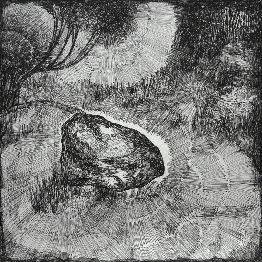 Rozemarijn Westerink - Stone in my garden, pen and ink on paper, 24 x 22 cm, 2020